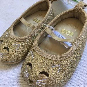 Gold Glitter Perforated Kitty Mary Jane Shoes